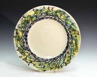 Wedding gift porcelain platter hand made and decorated