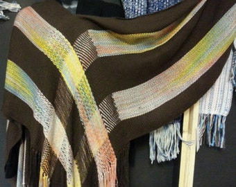 Versitile V Shawl in Brown with painted sections