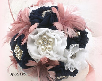 Brooch Bouquet, Navy Blue, White, Dusty Rose, Elegant Wedding, Vintage Style, Bridal, Jeweled, Fabric, Feathers, Lace, Pearls, Crystals