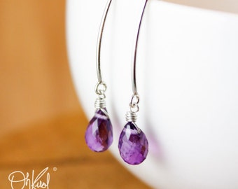 Silver Purple Amethyst Gemstone Earrings - February Birthstone - Hook Earrings