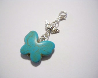 Turquoise Butterfly Charm Wings Silver Lobster Clasp Style for Bracelet - ADD A CHARM