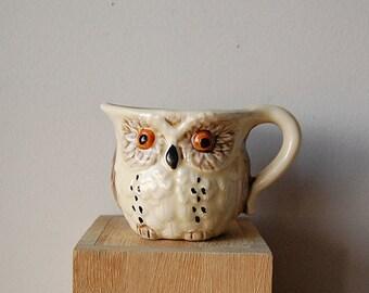 Groovy Vintage Owl Ceramic Creamer or Mug for Coffee or Tea.