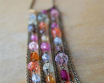 Vintage Dangle Necklace Jewelry Multistrand Boho Tassel of Translucent Beads 1970s.