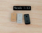 Scale 1:12 New set 3 pcs. IPhone 6 miniature  for Dollhouse miniature or similar doll (Space Gray, Silver, Gold)