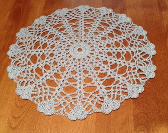 Hand crocheted Heart Edged Doily 10.5 inches diameter in Gray Silver Grey valentines day Love wedding decor