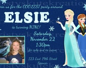 Digital Anna and Elsa Birthday Invitation