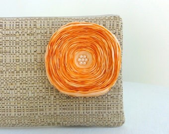 Tan Clutch with Peach Satin Flower - READY TO SHIP