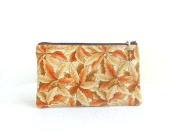 Fall Leafy Zippered Bag with Beaded Pull / Terra Cotta Rust Brown Tan - READY TO SHIP