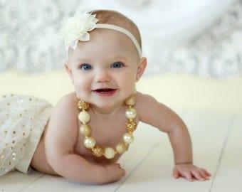 Ivory Baby Headband, Ivory Velvet Headband,  Baby Headband, Newborn Headband, Photo Prop, Baby , Infant Headband, Baptism Headband