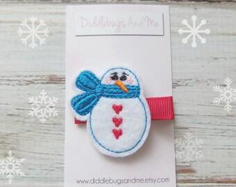 Snowman With Scarf Hair Clip, Christmas Hair Clip, Snowman Hair Clip, Girls Snowman Hair Clip, Christmas Hair Clip, Hair Accessories