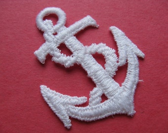 white anchor patch, 1970's embroidered nautical trim appliqué, new old stock.