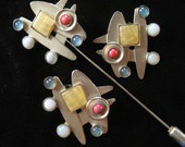 Gale Rothstein Abstract Modern Stick Pin and Earring Demi
