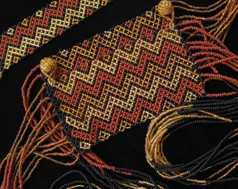 Seed Bead Woven Belt, Brown, Rust, Gold, Black Vintage Belt