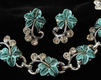Molded Celluloid or Lucite Ivy Pattern Demi Parure Necklace and Earring Set