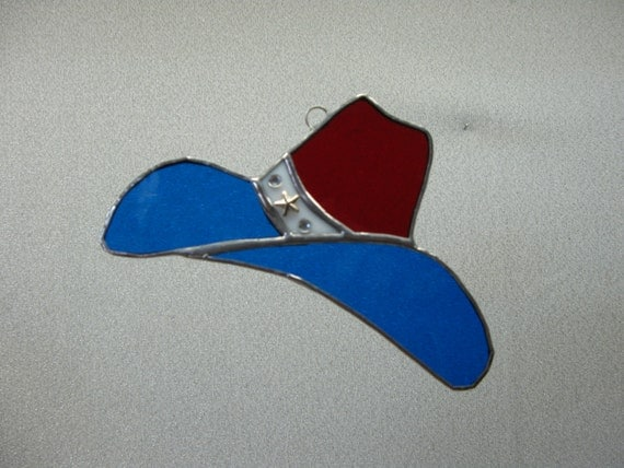 Cowboy hat stained glass suncatcher