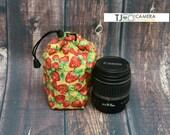 Dslr Accessory, Camera Gear, Fabric Lens Cozy, Drawstring Pouch, Strawberry Yellow, TJ Accessories