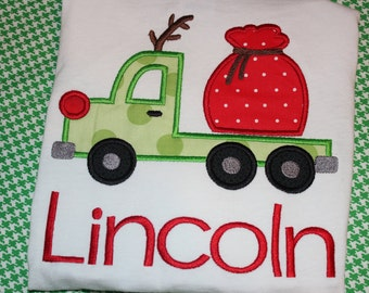 Christmas reindeer flatbed truck boy shirt- personalized