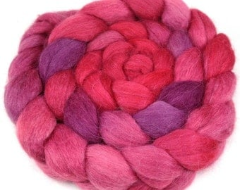 Spinning Fiber - Baby Alpaca Combed Top - Valentine Red Roving 4 oz