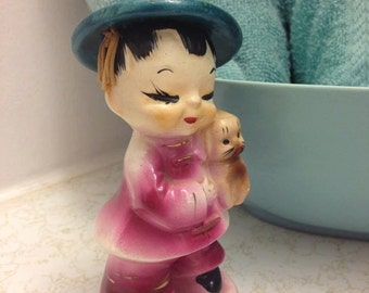 Adorable Vintage Asian Ceramic Figurine -- Made in Japan -- Collectible -- Mid Century
