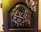 Painting on Wooden cabinet Black- Urban Art Series