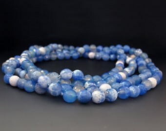 Long Blue Beaded Necklace - Bule Agate  -  60 inch