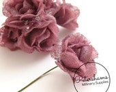 6 Small Hessian Flowers for Millinery, Headress & Tiara Making - Mauve Pink