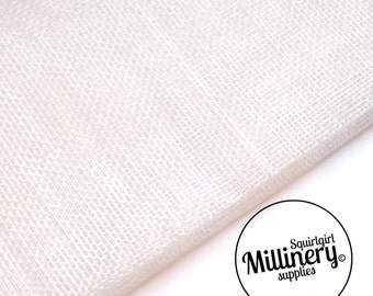 White Sinamay Fabric (1/2 yard) for Millinery, Fascinators & Hat Making