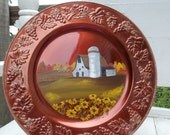 Fall Barn Painting on Bronze Charger