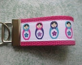 Matryoshka Hot Pink Mini Key Fob Russian Doll Party Favor