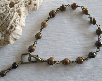 Agate & Tiger Eye Wire Wrapped Bracelet - Antiqued Brass ~ Bohemian style jewelry