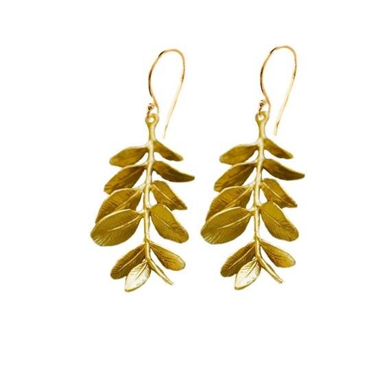 Gold Branch Leaf Earrings, Leaf Statement Earrings, Twig Jewelry Lightweight Long Earrings, Gold Statement Branch Jewelry, Birthday Gift