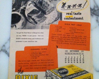 Vintage Ad Dixie Oleomargarine The Dixie Recipe of the Month Caramel Icing Vintage Ad
