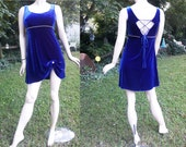 Stretchy 80s Dress - Vintage Dress - 80s Party Dress - 80s Cocktail Dress in Cobalt Blue Velvet with Rhinestones by Steppin' Out Size 10-14