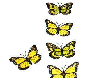 5 Yellow Butterflies for Hair Pins, Favors, Hair Clips, Decor