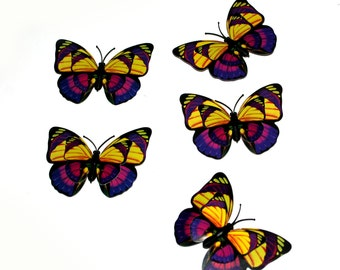 5 Yellow and Purple Butterflies for Hair Pins, Favors, Hair Clips, Decor