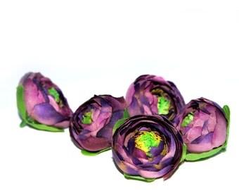 5 Two-Tone Purple Plum Small Ranunculus - Artificial Flowers, Silk Flowers