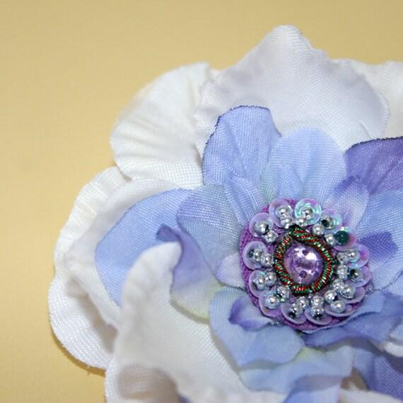 Cream White Gardenia and Delphinium Blue Hair Flower