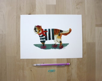 "Cat Wearing a French Outfit- 7X10"" Digital Giclee Print"
