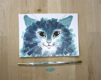 Cat face in Aqua- Original Watercolor Painting- 5x7""