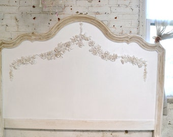 Painted Cottage Shabby Farmhouse Romantic Bed Queen / King Or Headboard Only