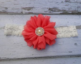 Coral  Ballerina Chiffon flower and cream lace headband pearl rhinestones newborn-toddler-girls Spring