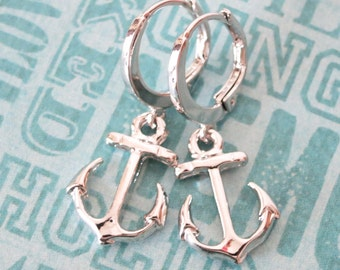 Simple Silver Anchor Earrings - Everyday pretty, Silver anchor jewelry, beach wedding party, best friends sister mother teacher gifts