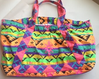 Fitness Schwag Bag: Neon Aztec New Wave geometric hodgepodge design to thrill & delight .perfectly 'washed' shoulder bag for your junk