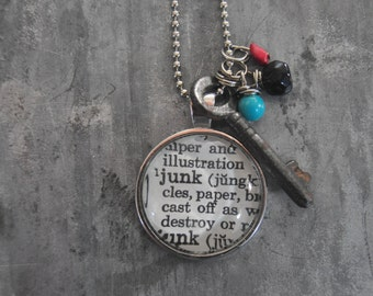 Vintage Dictionary Word Necklace JUNK with charms