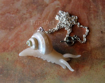 Garden Snail Pendant Snail Necklace Made to Order Claw or Toggle Clasp Silver Chain brass Sculpey Polymer Clay snail Garden Snail  TursiArt