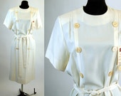 Ivory silk dress by Casi New Old Stock tags attached double breasted shift dress Size 10