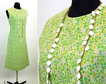 1960s shift dress flowered dress calico dress green pink cotton sleeveless dress Size M
