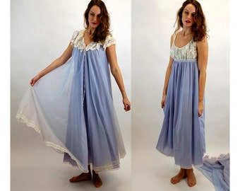 1960s Lucie Ann peignoir Claire Sandra negligee lavender chiffon lace nightgown and robe Size S/M