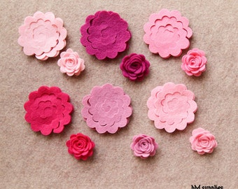 Tickled Pink - Small 3D Rolled Roses - 24 Die Cut Wool Blend Felt Flowers - Unassembled Rosettes