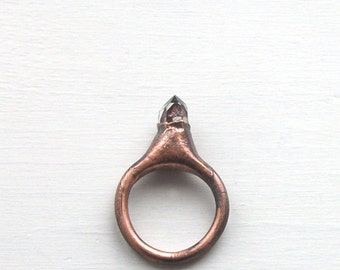 Raw Crystal Ring Copper Size 5 Rough Stone Jewelry Quartz Crystal Tibetan Rough MidwestAlchemy